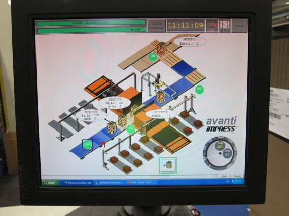 A monitor showing Avanti's Impress software